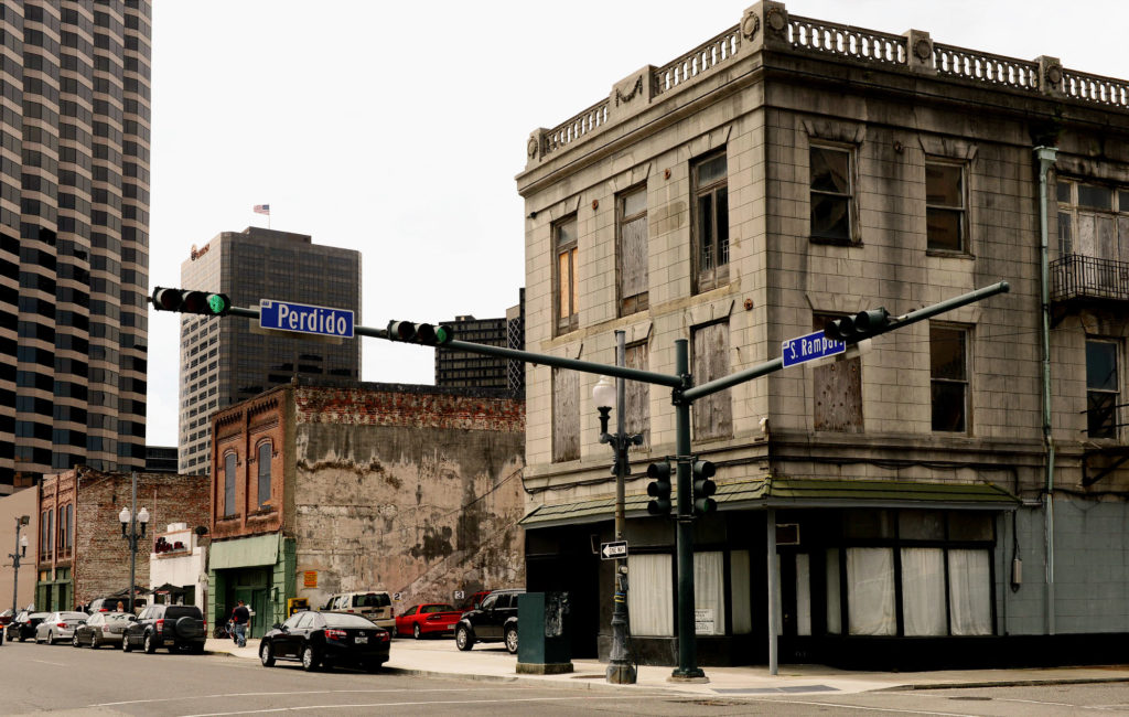 Photo by JOHN McCUSKER -- Three buildings listed as a UNESCO World Heritage site include The Karnofsky Tailor Shop, Iroquois Theatre and Eagle Saloon (left to right) in the 400 block of S. Rampart Street Thursday, April 4, 2013.